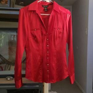Red silk dress shirt